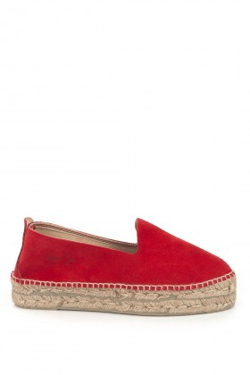 Manebi - Hamptons Suede Leather Fiery Red Espadril