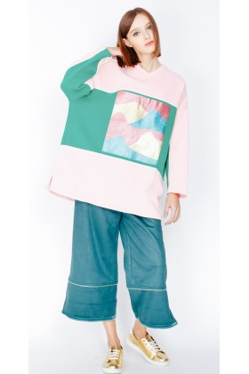 Showapp Sample Sale - Ziztar Bol Kesim Pembe Sweatshirt