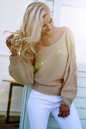 Ilqara - Asymmetrical Lace Up Sweater