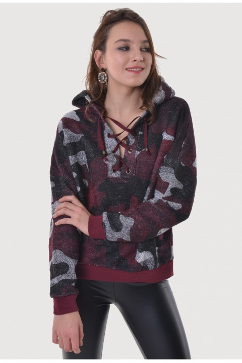 BSL Fashion BORDO  SWEATSHIRT 9758