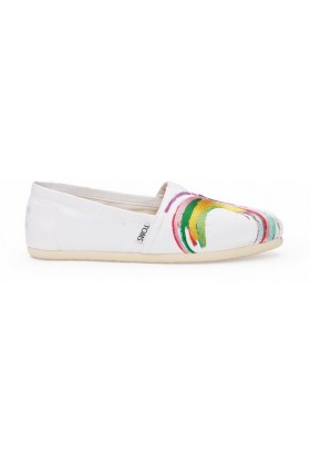 Toms - White Satin Embroidery Women Classic Alpargata