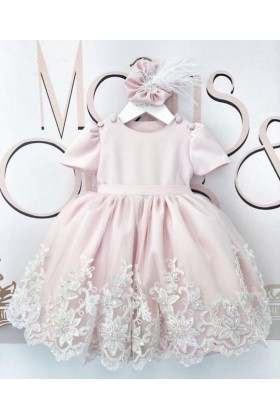 Moms&Ones - Lacy in Pink Elbise- 4-6 yaş