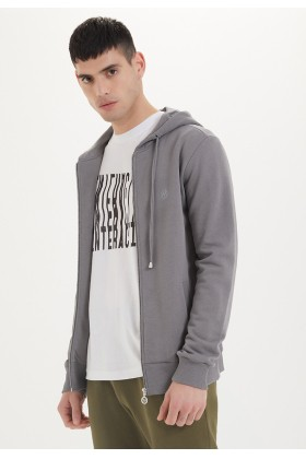 Westmark London - Essentials Zip Hoodie İn Charcoal Grey Gri Sweatshirt