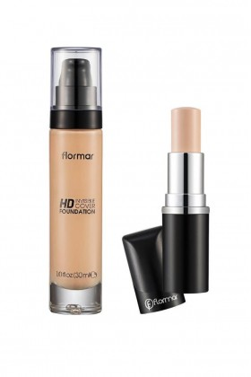 Flormar - Flormar Hd Cover No:60 Ivory Fondöten 30 ml+Concealer No:02 Fair Ivory Stick Kapatıcı