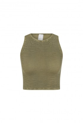 Sandshaped - Crinkle Crop Top - Mosstone