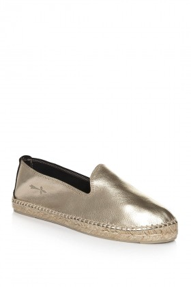 Manebi - Los Angeles Laminated Leather Platinum Espadril