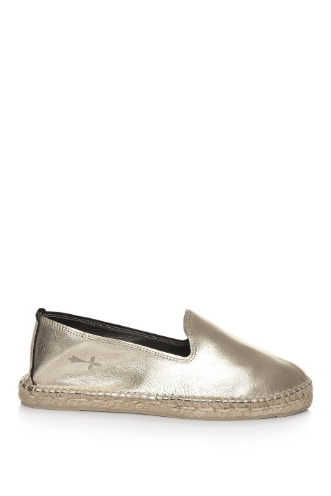 Manebi Los Angeles Laminated Leather Platinum Espadril