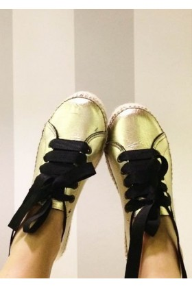 Manebi - Los Angeles Snk Laminated Leather Gold Espadril